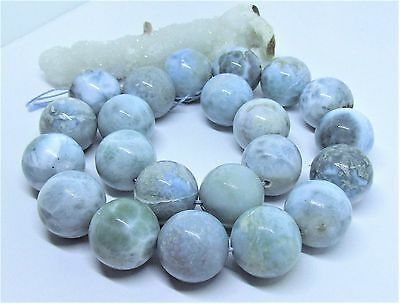 "22 RARE CARIBBEAN BLUE LARIMAR ROUND SPHERE BALL BEADS 18mm 950cts 15.25"" STRAND"