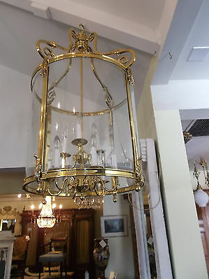 Huge Solid Brass Gold Color American Post 1940 Antique Style Round Lantern