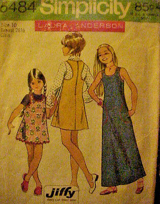 #5484 Vintage Simplicity Girl's Jiffy Dress  Sewing Pattern Size 10