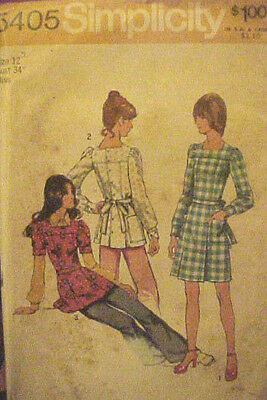 #5405 VINTAGE 1970's SIMPLICITY EASY MISSES MINI-DRESS SEWING PATTERN SIZE 12