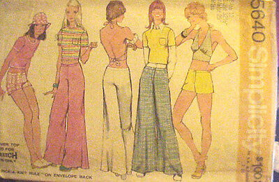 #5640 VINTAGE 1970's KNITS SIMPLICITY MISSES TOPS PANTS SEWING PATTERN SIZE 11