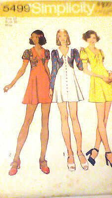 #5499 Simplicity 1973 Vintage Misses Dress Sewing Pattern Size 12