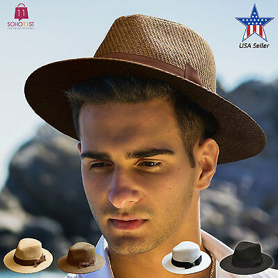 Mens Summer Wide Brim Straw Fedora Hat Indiana Jones Style Panama Hat PMS 470