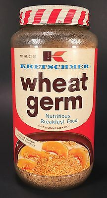 OLD 1960s KRETSCHMER WHEAT GERM BREAKFAST CEREAL JAR VINTAGE HEALTH FOOD