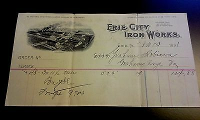 "LOOK! 1891 Advertising Bill Head ""ERIE CITY IRON WORKS""     Erie, Pennsylvania"
