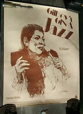 GILBEY'S Dry GIN McCoy Carmen McRae Art Poster 24x30 Jazz Music 80s Man Cave Ad