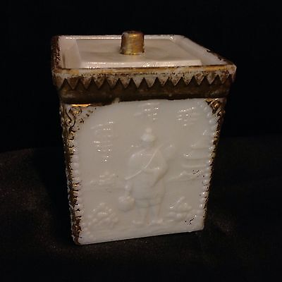 W.S.Co Westmoreland Vintage Milk Glass Oriental Decor Mustard Jar Box
