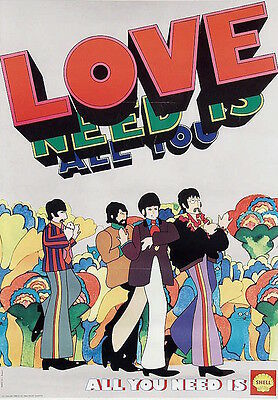 YELLOW SUBMARINE BEATLES ALL YOU NEED IS LOVE SHELL DUTCH poster 15x22 RARE 1968