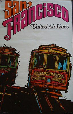 UNITED AIRLINES SAN FRANCISCO JEBARY Art 1968 Vintage Travel poster 25x40