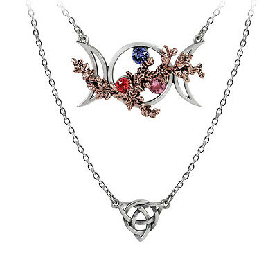 Wiccan Goddess Of Love Triquetra Double Necklace Moon Phases Alchemy Gothic P785