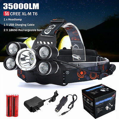 35000LM 5x XM-L T6 LED Headlamp Rechargeable Headlight 18650 Head Light Lamp Kit
