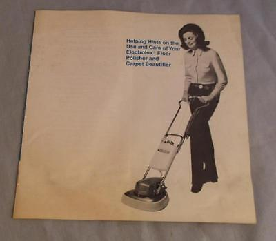 Electrolux Floor Polisher And Carpet Beautifier Model B-8  Manual 1971