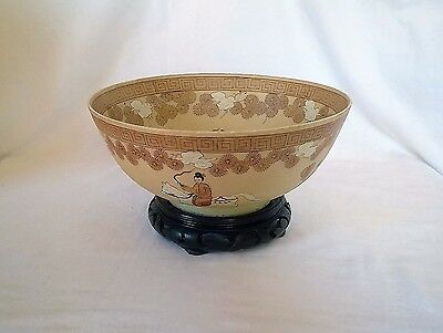 Vintage Collectible Japanese/Chinese Hand Painted Bowl Art Wood Stand Hong Kong