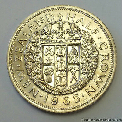 1965 New Zealand Half Crown Brilliant Uncirculated Coin