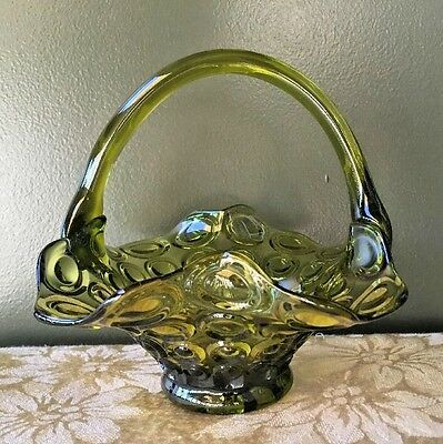 Vintage Green Art Glass Basket Dish With Handle Made In Italy