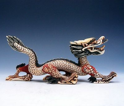 Solid Bone Hand Carved Furious Walking Curly Dragon Sculpture #03121701