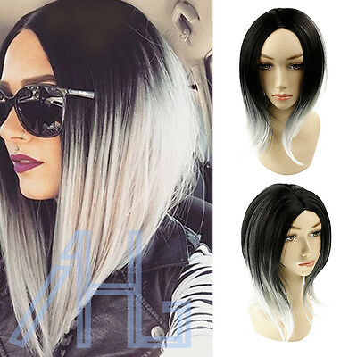Women's Ombre Black Gray Straight Short Bob Synthetic Full Cosplay Party Wig UK