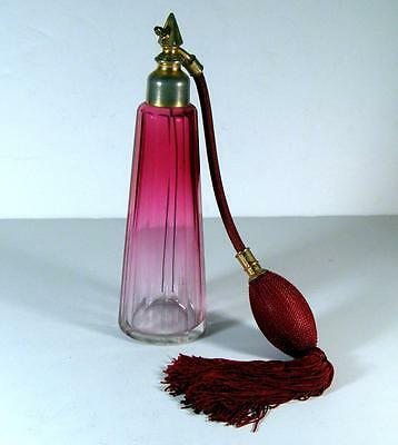 """Antique Rubina Cranberry to Clear Baccarat 8"""" Faceted Perfume Bottle Atomizer"""