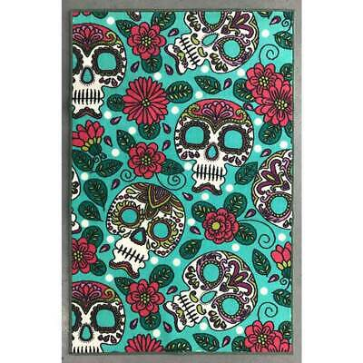 New Children's Rug Sugar Skull Flowers 100x 150 Mat Floor Day of the Dead Pretty