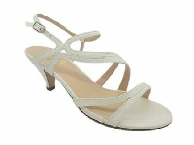 4aad20e4ab6e78 Ladies Shoes No Shoes Dazzle White Glitter Strappy Formal Heels Sandals  6-11 NEW