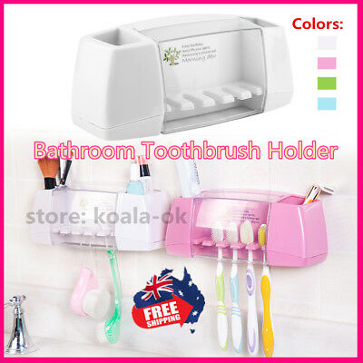 Bathroom Suction Toothbrush Wall Mount Toothpaste Dispenser Stand Holder T GT