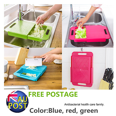 Unique Kitchen Chopping Drain Vegetable Fruit Cutting Board With Water Tank AU@