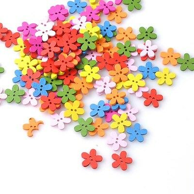 300PCS Wood Sewing Buttons Scrapbooking Flower 2 Holes 14x15mm Crafts Multicolor