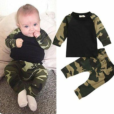Newborn Toddler Infant Baby Kids Boy Clothes Long Sleeve Tops+Pants Outfits 2Pcs