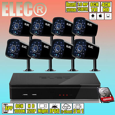 ELEC 720P 960H 8CH HDMI 4CH DVR 1500TVL Security Camera CCTV Surveillance System