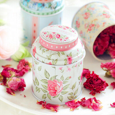 Home Decor Metal Floral Kitchen Coffee Tea Sugar Candy Container Jar Can Tin