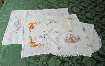 VINTAGE TRAY CLOTHS-HAND EMBROIDERED-COLLECTION of 4