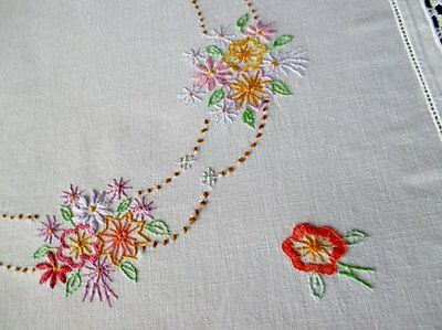 VINTAGE TABLECLOTH-HAND EMBROIDERED with SMALL FLOWERS+CROCHET TRIM