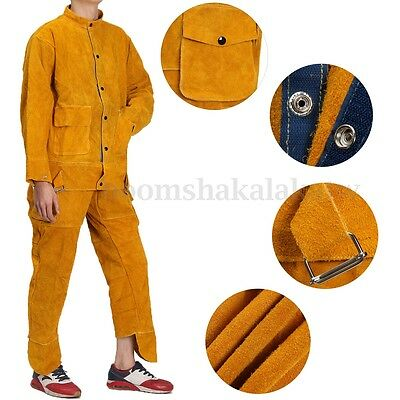 Leather Welding Strap Trousers + Coat Protective Clothing Apparel Suit Welder