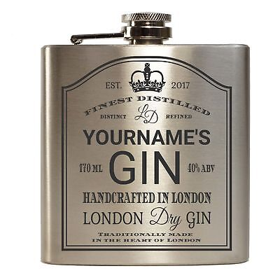 E-Volve Hip Flask - 6Oz - Personalised Stainless Steel - 'Your Name' Dry Gin