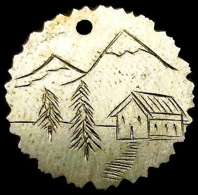 S379: Late 1800's SILVER French Love Token - hand engraved mountain scene