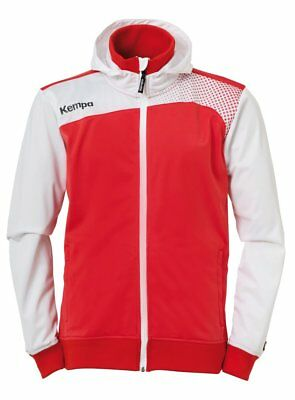 Kempa Kids Emotion Hooded Jacket Full Zip Track Sports Top Junior Red White