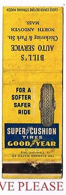 1950s Goodyear Supercushion Tires North Andover Massachusetts Matchcover