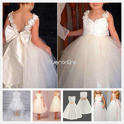 Flower Girls Princess Tulle Tutu Dresses Party Pageant Bridesmaid Wedding Gown