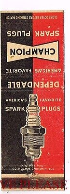1950s Champion Spark Plugs Dependable Matchcover
