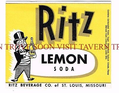 1950s St Louis Missouri Ritz Lemon Soda Label Tavern Trove
