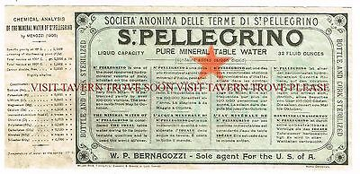 V3 1900s San Pellegrino Medicinal Mineral Water Label Stephens Collection