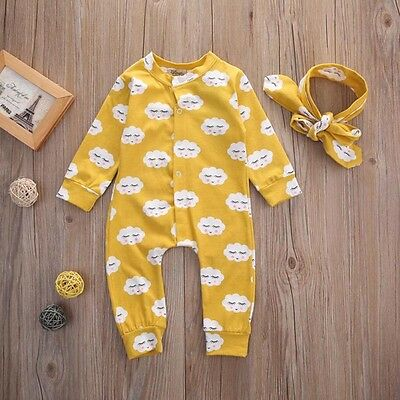 2Pcs Newborn Infant Baby Girl Boy Romper Jumpsuit Bodysuit Clothes Outfits 0-18M