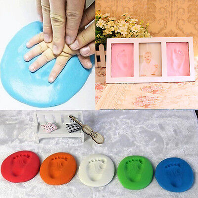 Infant Baby Kids Handprint Footprint Clay Imprint DIY Soft Air Drying Clays HT