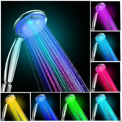 New Multi Color Colorful LED Shower Head Light Up Disco Water Power Bathroom HT
