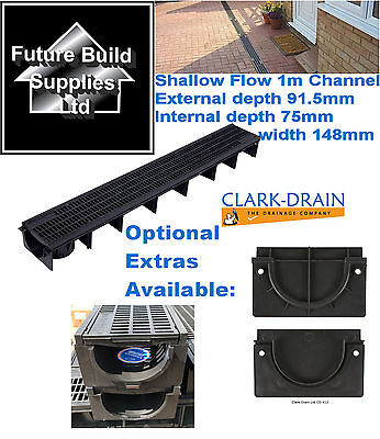 Shallow Flow Clark Drain Heavy Duty A15 PVC Channel Drainage Grating 1m Length