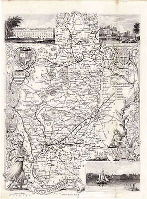 Map of the Nottinghamshire by Thomas Moule. Illustrated. Circa. 1852.