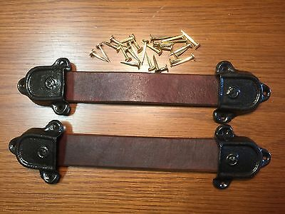 Antique Trunk Hardware-Leather Trunk Handles-2 Straps, 4 Metal Ends-Nails-AAA
