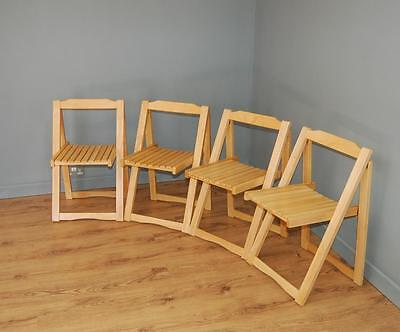 Fab! Set of Four Space Saving Slatted Folding Chairs - Indoor/Outdoor!