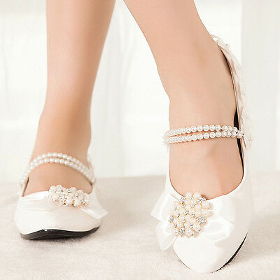 Lace Princess Across Pearl Kitten Shoes Wedding Bow Knot Flat Heels Bridal Pumps