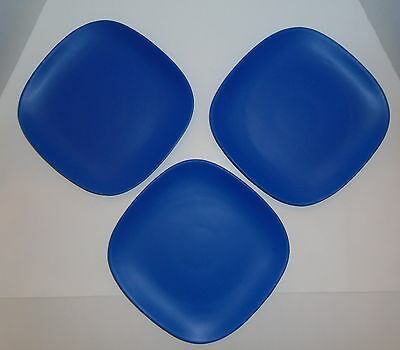 Chef Ming Tsai ~  3 SQUARE  BLUE GINGER  DINNER PLATES  ~ Excellent Condition!